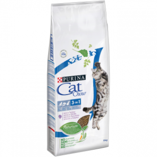 PURINA CAT CHOW SPECIAL CARE 3w1 Bogata w indyka 12kg +3kg