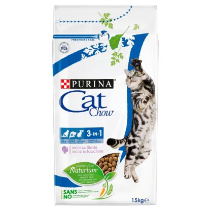 PURINA CAT CHOW SPECIAL CARE 3w1 Bogata w indyka 1
