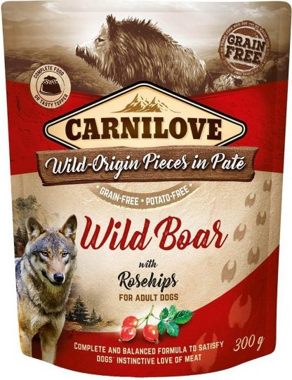 CARNILOVE DOG POUCH ADULT WILD BOAR WITH ROSEHIPS GRAIN-FREE 300g