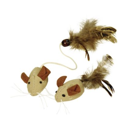 KERBL Zabawka myszka z piórami