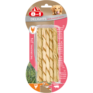 8in1 Przysmak Delights Pork Twisted Sticks [T122562] 10 szt.