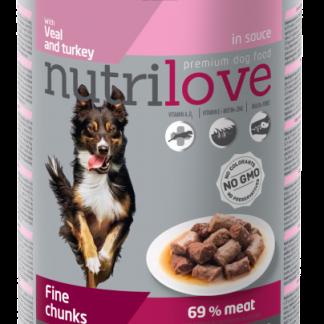 NUTRILOVE Premium kawałki z cielęciną i indykiem w sosie dla psa 415g [11447]