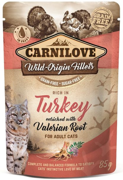 CARNILOVE CAT POUCH ADULT TURKEY WITH VALERIAN ROOT GRAIN-FREE 85g