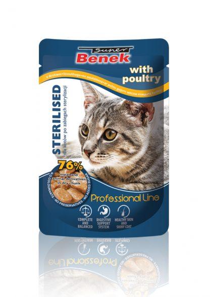 SUPER BENEK Saszetka dla kota wysterylizowanego z drobiem 100g