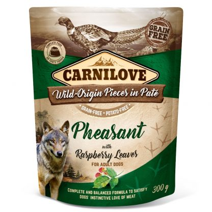 CARNILOVE DOG POUCH ADULT PHEASANT WITH RASPBERRY LEAVES GRAIN-FREE 300g