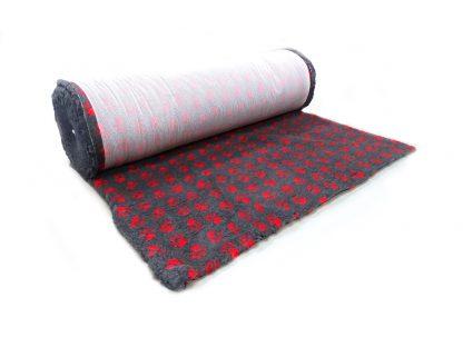 CANIFEL DryBed Posłanie (150x100) Small Paw Grafitowo Czerwony