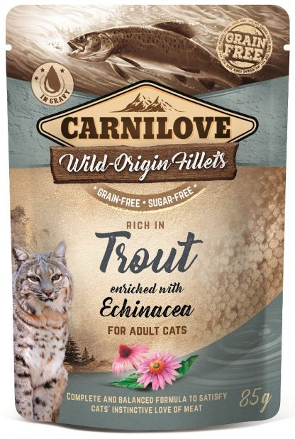 CARNILOVE CAT POUCH ADULT TROUT WITH ECHINACEA GRAIN-FREE 85g