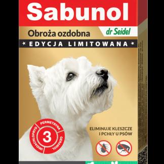 SABUNOL GPI obroża ozdobna zielona w łapki przeciw kleszczom i pchłom dla psów 50 cm