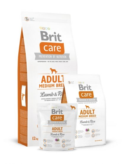 BRIT CARE ADULT MEDIUM BREED LAMB & RICE 12 kg + 2KG GRATIS
