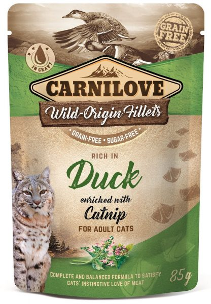 CARNILOVE CAT POUCH ADULT DUCK WITH CATNIP GRAIN-FREE 85g