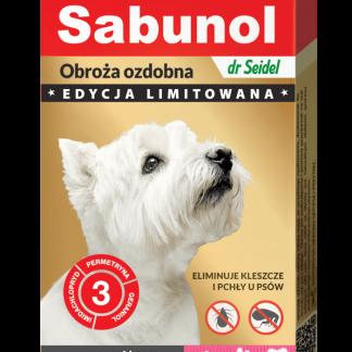 SABUNOL GPI obroża ozdobna różowa w łapki przeciw kleszczom i pchłom dla psów 50 cm