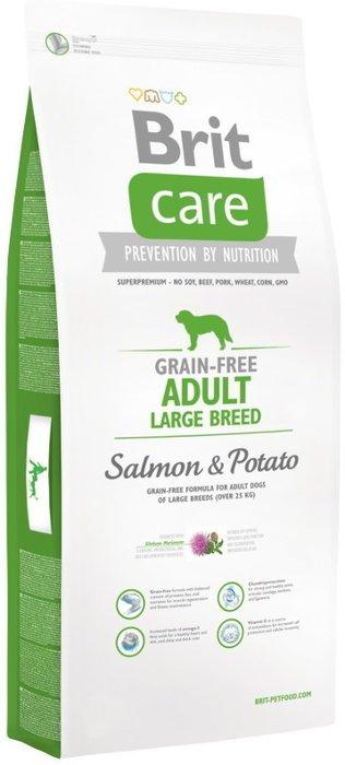 BRIT CARE GRAIN-FREE ADULT LARGE BREED SALMON & POTATO 12 kg + 2KG GRATIS